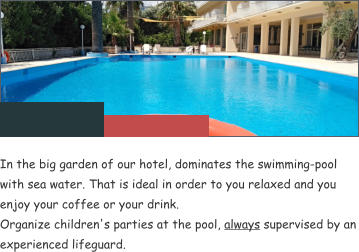 In the big garden of our hotel, dominates the swimming-pool with sea water. That is ideal in order to you relaxed and you enjoy your coffee or your drink. Organize children's parties at the pool, always supervised by an experienced lifeguard.